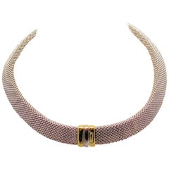 14 Karat White Gold and 14 Karat Yellow Gold Italian Woven Necklace