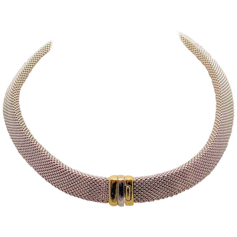 14 Karat White Gold and 14 Karat Yellow Gold Italian Woven Necklace For Sale