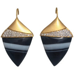Lauren Harper Tuxedo Agate .72 Carat Diamonds Gold Earrings