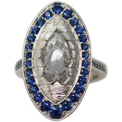 2.09 Carat Fish Shaped White Rose Cut Diamond and Blue Sapphire Ring