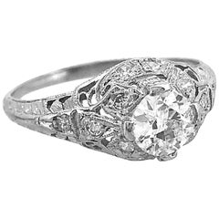 .50 Carat Diamond Antique Engagement Ring Platinum