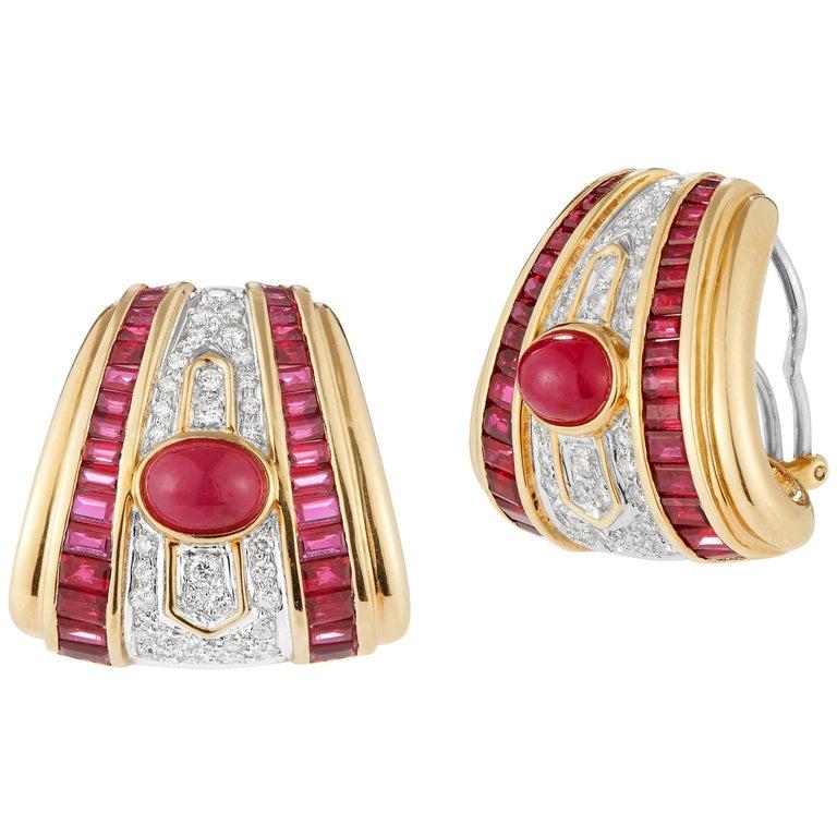 18 Karat Yellow Gold Diamond and Ruby Elegant Earrings