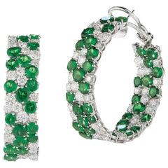 Impressive 18 Karat White Gold Hoop Earring Set with Tsavorite and Diamond