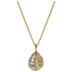 GIA Certified Pear Shape Diamond Necklace in 14 Karat Gold 1.95 Carat