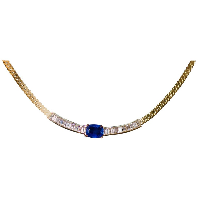 Sapphire and Diamond Necklace in Yellow Gold