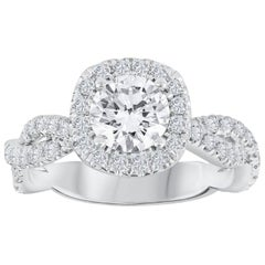 GIA Certified Round Diamond Halo Infinity Engagement Ring