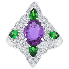 GIA Certified Pinkish Purple Sapphire Tsavorite and Diamond Fashion Ring