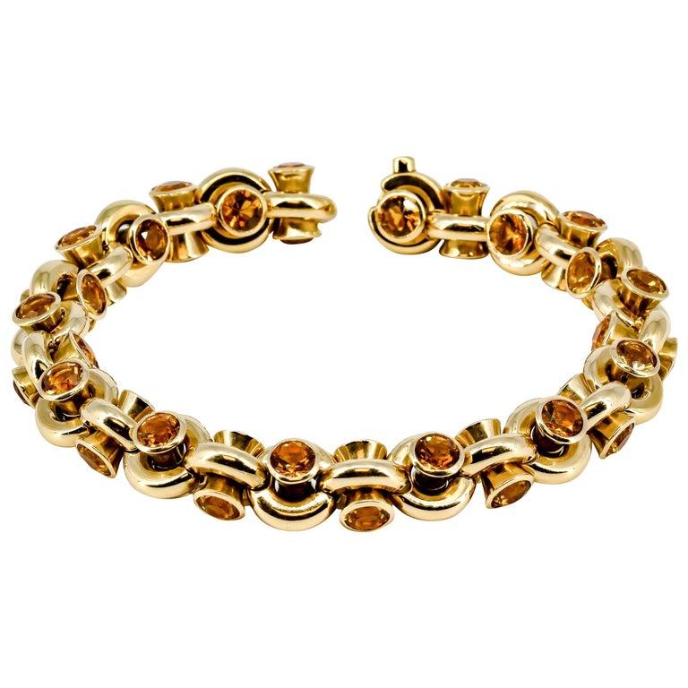 Hans D. Krieger Citrine Diamond and Gold Link Bracelet For Sale