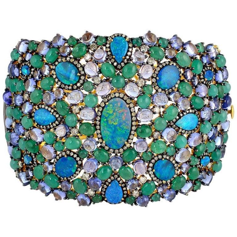 Mesmerizing Opal, Diamonds, Emerald and Tanzanite Cuff Bracelet