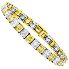 Alternating Yellow and White Diamond Tennis Bracelet