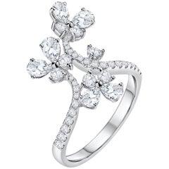1.41 Carat Total Diamond Butterflies Fashion Ring
