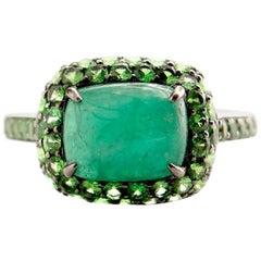 Emerald and Tsavorite Jilly Ring