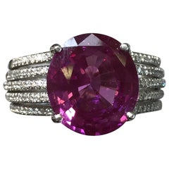Pink Sapphire Oval and Diamond Platinum Cocktail Ring