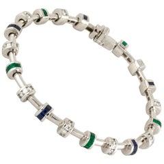 Charles Krypell Platinum Diamond Emerald Sapphire Bracelet