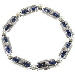 Art Deco French Cultured Pearl Calibre Sapphire Diamond Platinum Bracelet