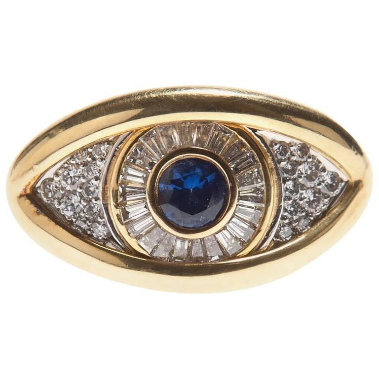 Renato Cipullo Sapphire, Gold and Platinum Eye on the Right Hand Ring