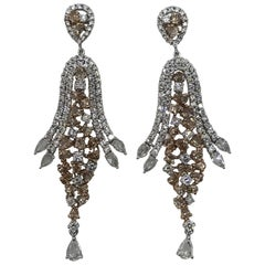 Fancy Diamonds total weight 5.27 cts in 11.82 Grams White Gold Cocktail Earring