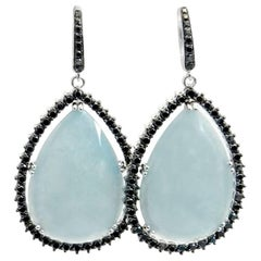 18 Karat White Gold Garavelli Earrings with Aquamarine Slices and Black Diamonds