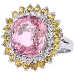 10.06 Carat Pink Tourmaline Yellow Sapphire Diamond White Gold Cocktail Ring