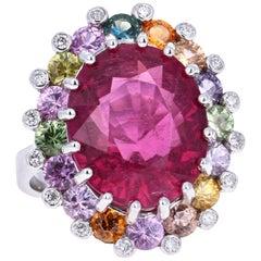 14.73 Carat Pink Tourmaline Sapphire Diamond 18 Karat White Gold Cocktail Ring