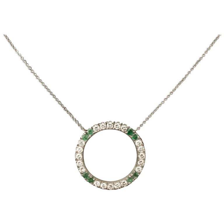"""Circle Emerald and Diamond Necklace by """"Bueche Girod"""""""