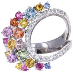 1.96 Carat Multicolored Sapphire Diamond 14 Karat White Gold Cocktail Ring