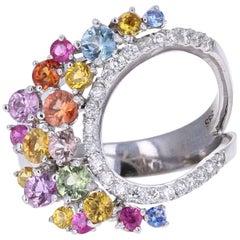 1.96 Carat Multicolored Sapphire Diamond 14 Karat White Gold Cocktail Ring