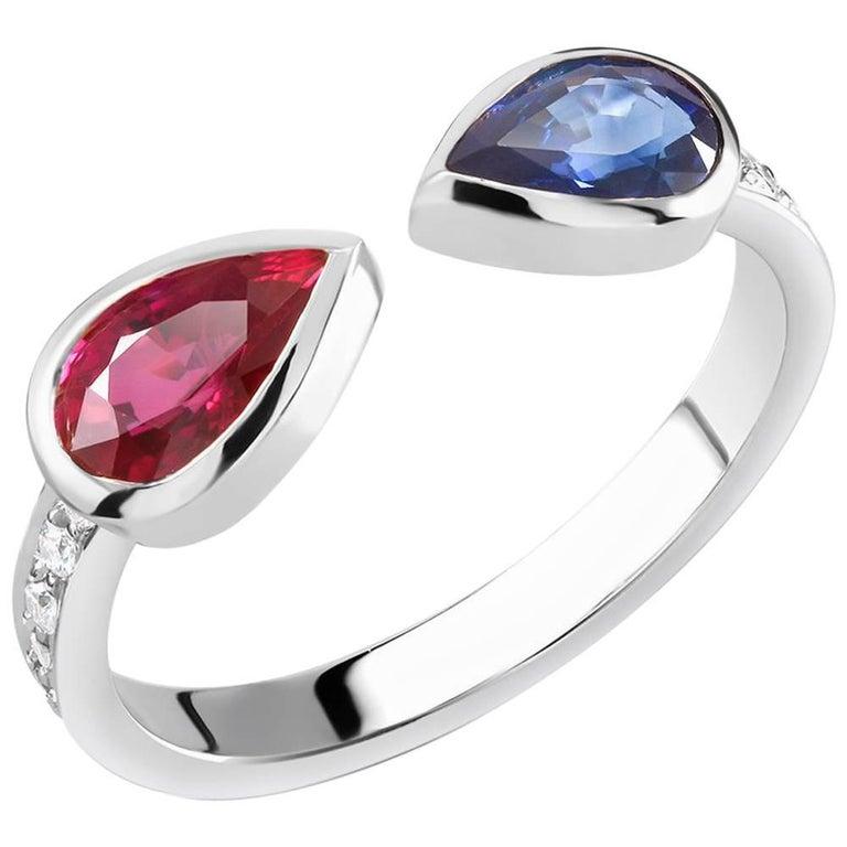 Diamond Ruby Sapphire Facing Fashion Ring