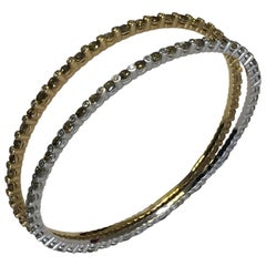Green Diamond and White Diamond Bangle Bracelets in 18 Karat Two-Tone Gold