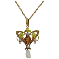 Krementz Art Nouveau Citrine and Pearl Pendant