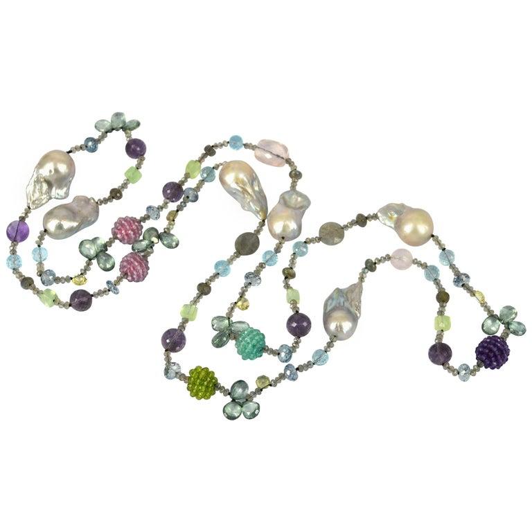 Decadent Jewels Baroque Pearl Amethyst Labradorite Blue Topaz Necklace