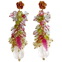 Rose Quartz, Blue/Pink Topaz, Amethyst, Peridot, Lemon Quartz Cluster Earrings