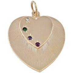 Gold Dear Double Heart Pendant/Charm