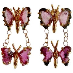 Watermelon Tourmaline Double Butterfly Earrings