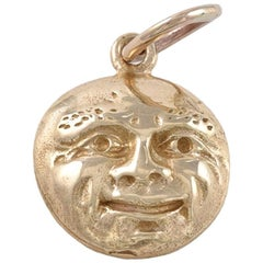 Antique Gold Man-in-the-Moon Charm