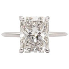 J. Birnbach GIA Certified 3.70 Radiant Cut Diamond Ring