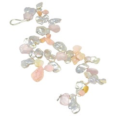 Decadent Jewels Keshi Pearl Rose Quartz Pink Opal Silver Necklace