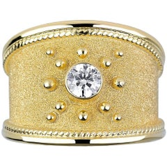 Georgios Collections 18 Karat Yellow Gold Byzantine Ring with 0.32 Carat Diamond