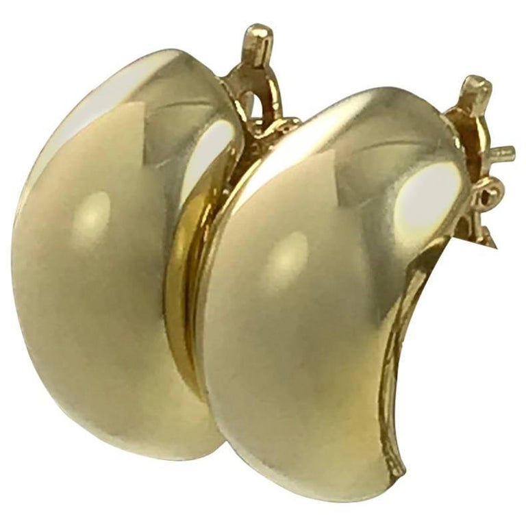Tiffany & Co. Gold Hoop Huggie Button Earrings