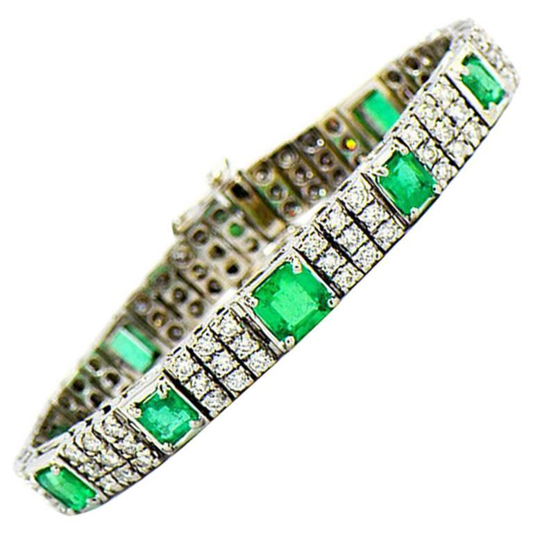 Colombia Emerald and Diamond Tennis Bracelet