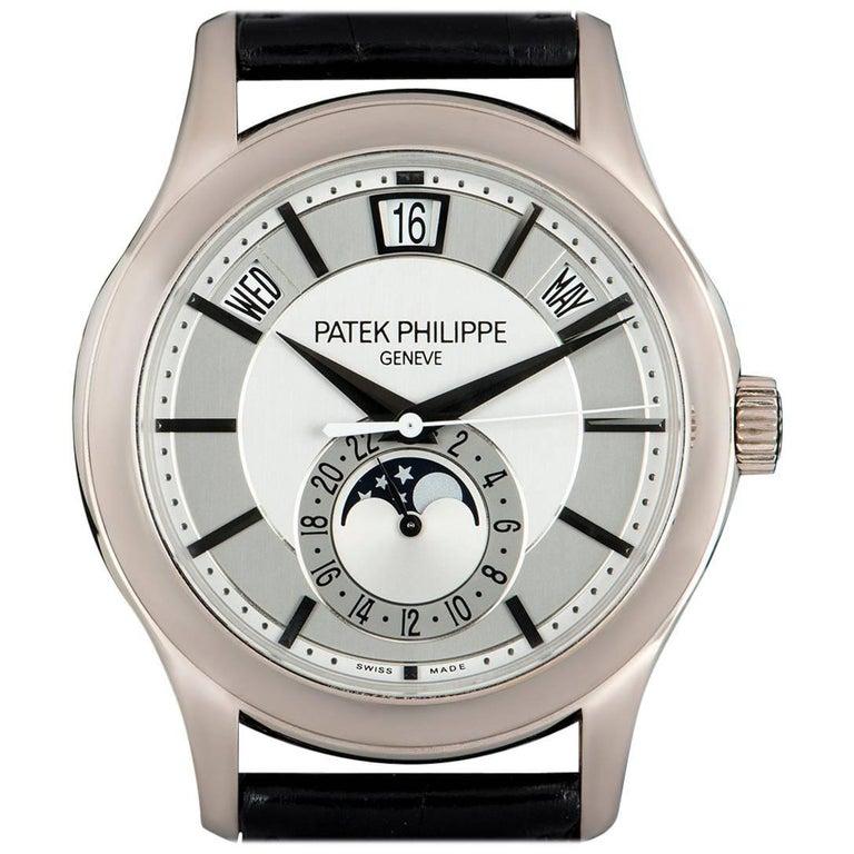 Patek Philippe White Gold Annual Calendar Rhodium Dial Automatic Wristwatch For Sale