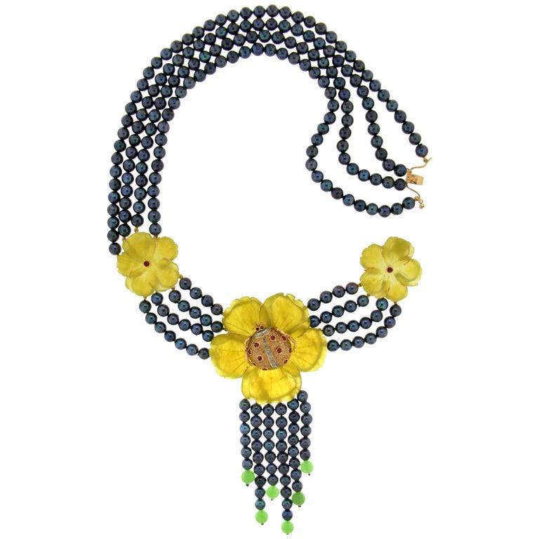 Quartz Flowers Gold Multi-Strand Necklace