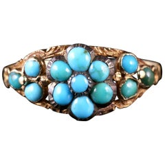 Antique Georgian Turquoise Cluster Flower Ring Gold, circa 1810
