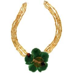 Aventurine Flower Gold Pendant Necklace