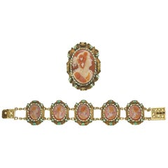 Victorian Cameo Carnelian Gold Enamel Suite of Brooch and Bracelet