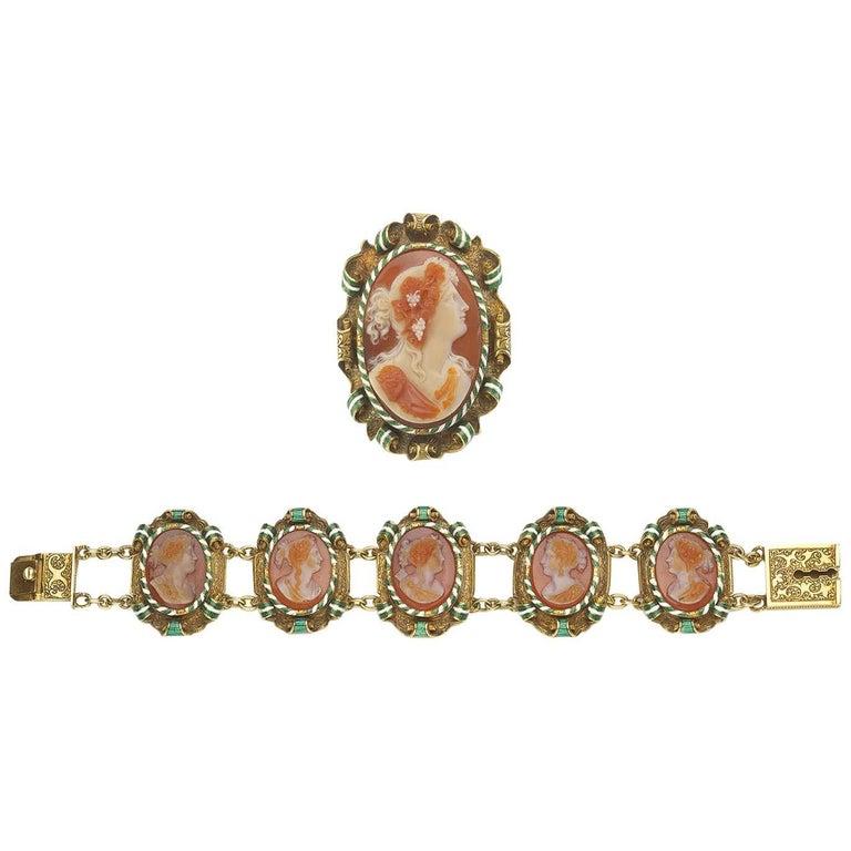 Victorian Cameo Carnelian Gold Enamel Suite of Brooch and Bracelet