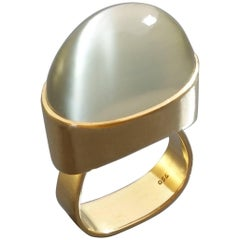 High Domed 1970s Mid-Century Modernist Green Moonstone Gold Cocktail Ring