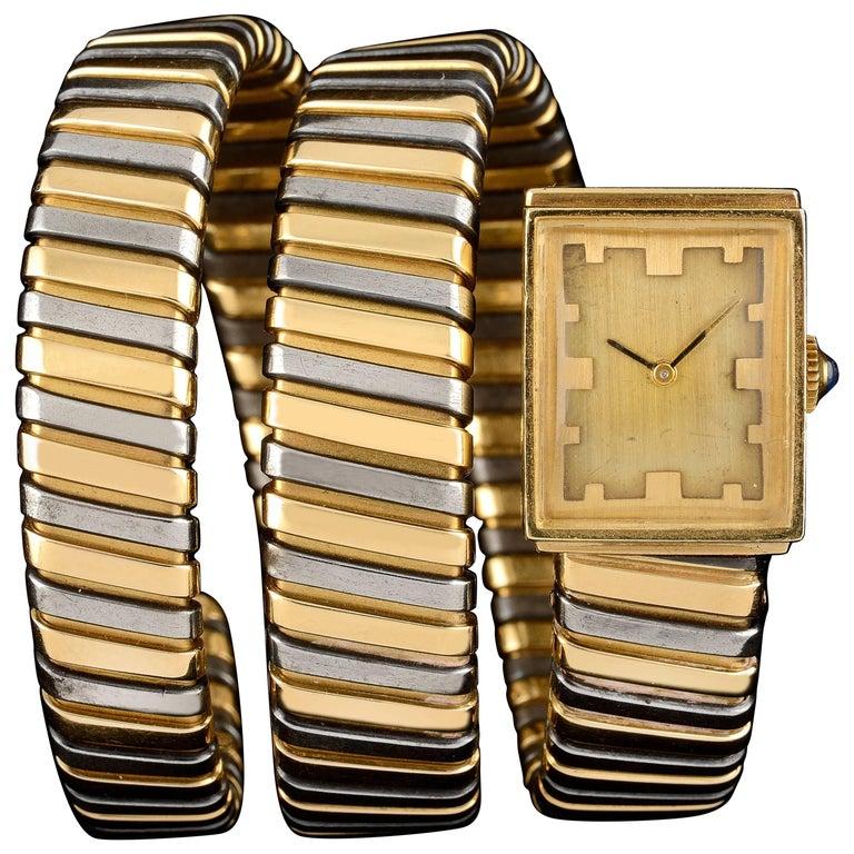 Bulgari Yellow Gold Stainless Steel Serpenti Tubogas Wristwatch, circa 1970