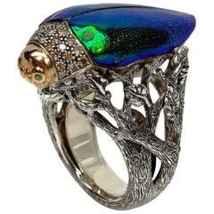 Sterling Silver 18k Rose Gold Diamond Scarab Ring