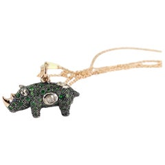 18k Rose Gold Sterling Silver Tsavorite Rhino Necklace